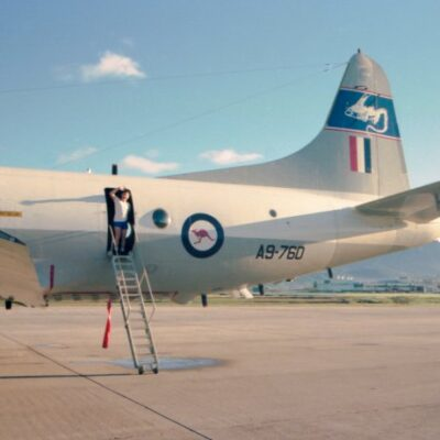 P-3C Orion A9-760 at Nadi, Fiji on 30 November 1980 while tasked on Exercise Silent Pearl. Note that the aircraft still carries the original style of 10 Squadron's chimera emblem. Picture: Leigh Collins  QUEENSLAND AIR MUSEUM www.qam.com.au