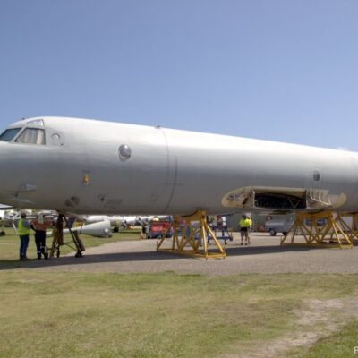The fuselage of Orion A9-760 safely on site at QAM Caloundra on 29 October 2019. Picture: Ron Cuskelly  QUEENSLAND AIR MUSEUM www.qam.com.au
