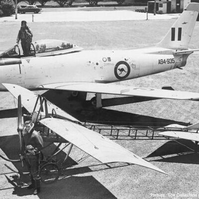 Sabre A94-935 with the RAAF Museum's Deperdussin Type A Monoplane. Picture: The Collection p5200-0417-131 QUEENSLAND AIR MUSEUM www.qam.com.au